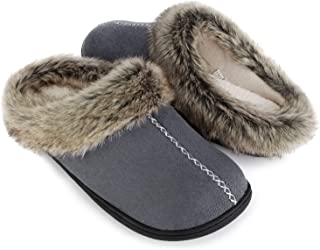 ULTRAIDEAS Men's Cozy Memory Foam Slippers with Warm Fleece Lining and Fuzzy Faux Fur Collar, Casual Micro Suede Slip on C...