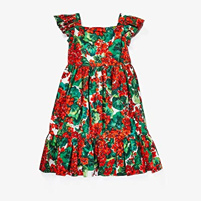 Dolce & Gabbana Kids Portofino Print Poplin Dress (Big Kids) (Geranium Print) Girl
