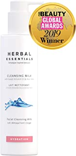 Herbal Essentials Cleansing Milk With Sweet Almond Oil & Aloe Vera, Soap Free Cleansing Milk, Natural Cleanser To Gently Revitalise Skin Including Vitamin A & E, Premium Skincare 150ml
