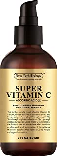New York Biology Vitamin C Serum for Face and Eye Area - Highest Professional Grade with L Ascorbic Acid - Huge 2 oz