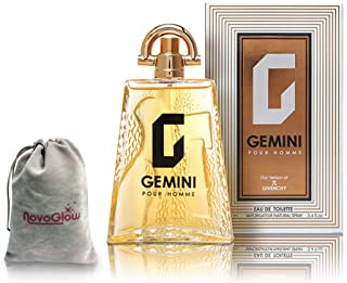 GEMINI Perfume for Men, EDT Spray - 3.4 oz - Long Lasting Fragrance to Rock Every Occasion - With a NovoGlow Suede Pouch Included
