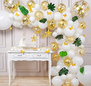 PartyWoo Gold White Balloon Garland Kit, 125 pcs of 9 Tropical Leaves, 10 Gold Butterflies, 7 Gold Stars, Jumbo Confetti Balloons, Jumbo White Balloons for Rustic Wedding Decorations, Tropical Party