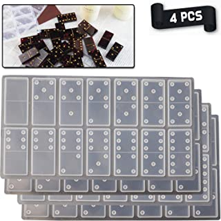 WayJaneDTP 2 Set Domino Resin Molds, Non-Stick Silicone Domino Game Epoxy Molds 56 Cavities Dominoe Mould for Personlized ...