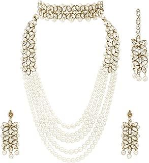 I Jewels Traditional Gold Plated Kundan Pearl Choker Jewellery Set with Earrings & Maang Tikka for Women (ML164WCO)