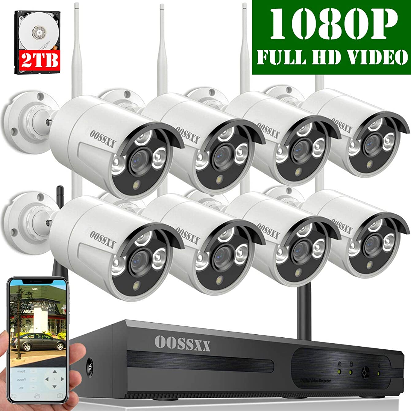 【2019 Update】 OOSSXX 8-Channel HD 1080P Wireless Security Camera System,8Pcs 1080P 2.0 Megapixel Wireless Indoor/Outdoor IR Bullet IP Cameras,P2P,App, HDMI Cord & 2TB HDD Pre-Install