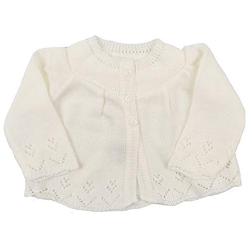 Spanish Knitted Baby Boys Girls Newborn Chunky Cardigan Pink Blue Ivory 0-9 Mths