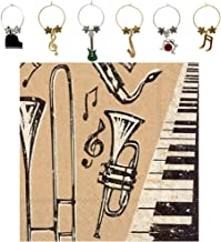 Jazz Musician Wine Charms and Music Note Cocktail Napkins Set - Includes 6 Metal Musical Instrument Wine Markers and 20 Paper Beverage Napkins