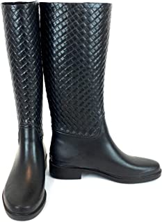 100% Waterproof Natural Soft Rubber Slip On Riding Boot - Knee High Mud Boots - Luxury Rain Wear