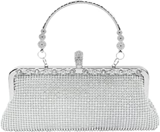 topfive Clutch-Geldbörse Abendtasche Kristall Handtasche Hochzeit Abschlussball Party Brauttasche für Frauen, silber
