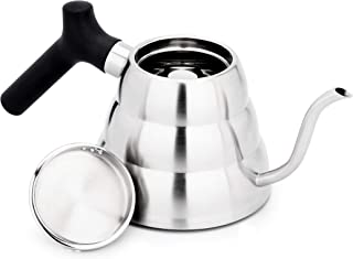 Thinkingwings 18/8 Stainless Steel Gooseneck Pour Over Coffee Kettle, Stovetop Kettle for Drip Coffee and Tea Triple Layer Boottom with Ergonomic Handle 28oz (1.2L)
