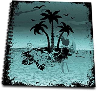 3dRose db_152568_2 A Pretty Night Island Scene with Palm Trees & Tropical Flowers in Turquoise Memory Book, 12 by 12