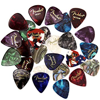 Fender Premium Picks Sampler - 24 Pack Includes Thin, Medium & Heavy Gauges (Austin Bazaar Exclusive)