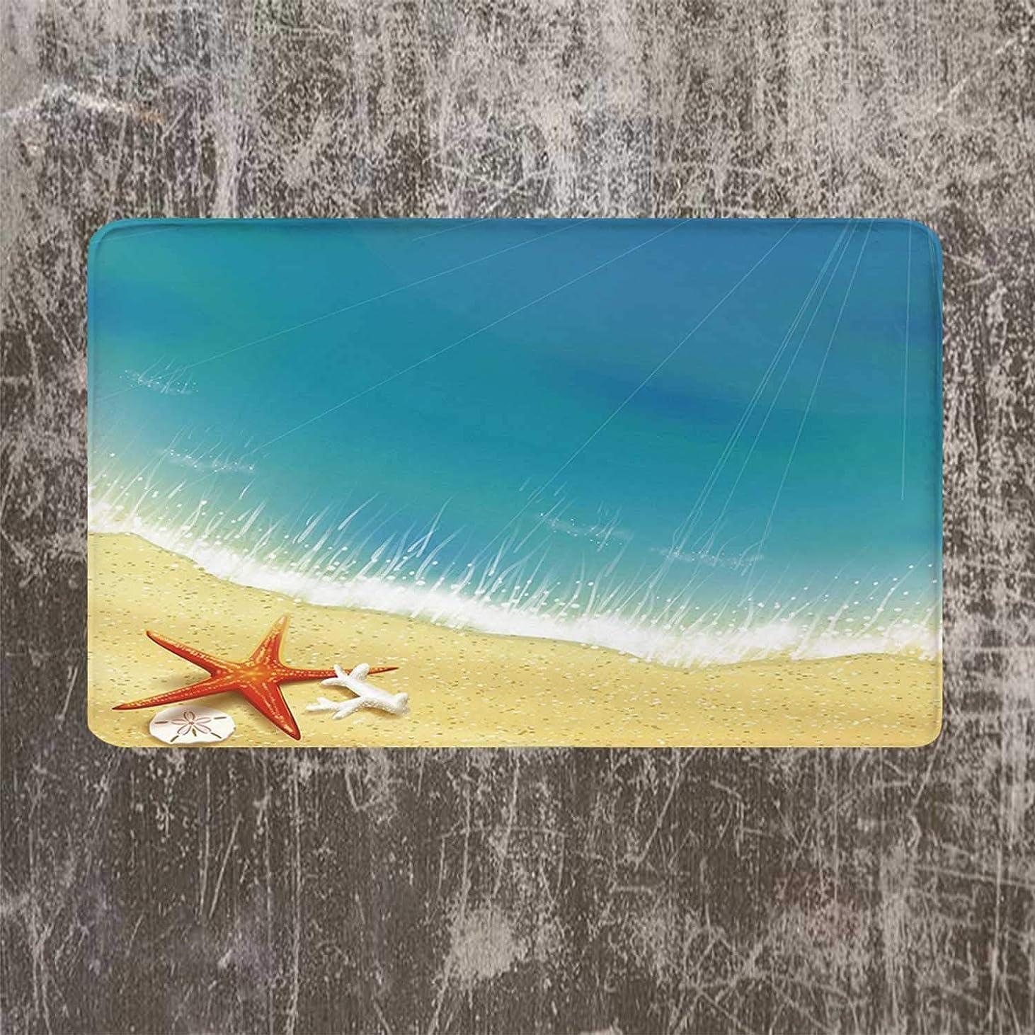 考古学的な送信するパントリーヒトデの装飾のソフトドアマット、砂浜の海岸ビューの波寝室のカリブ海パラダイス夏イラスト
