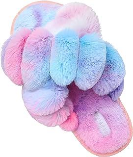 JIASUQI Cross Open Toe Fuzzy Fluffy House Slippers for Women Cozy Memory Foam Plush Criss Cross Furry Slides Slippers