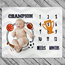 Baby Monthly Milestone Blanket Photo Prop for Newborn Growth Photography ¨C Basketball Champion Sports Month Blanket for Baby Boy Shower Gift