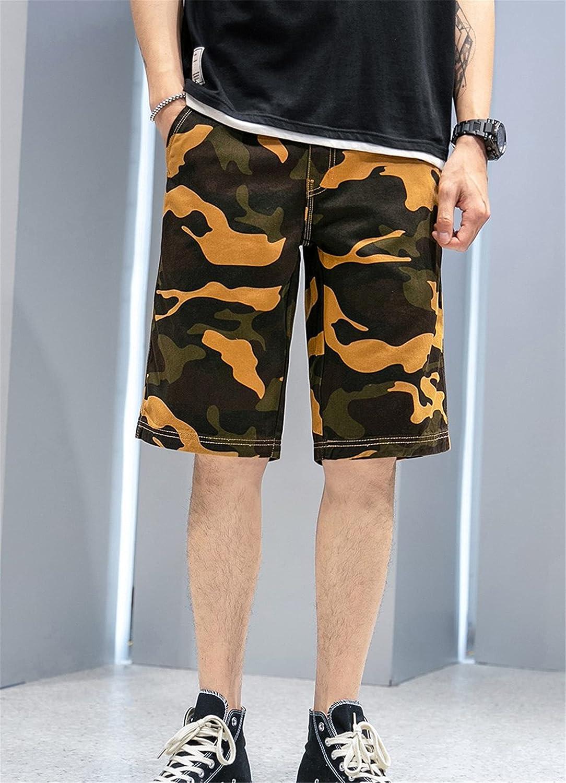 GAOZHEN Men's Cotton Twill Cargo Comfy Shorts,Outdoor Camo Pants,Not Include Belt,Yellow,28