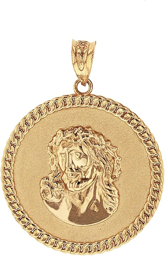 Religious Jewelry by FDJ Solid 10k Yellow Gold Cuban Link Framed Jesus Face Medallion Pendant