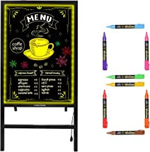 Woodsam Standing LED Board Sign - First Illuminated Easel with Neon Chalk Marker - Rustic Steel Vintage Decor for School, Wedding, Bar, Restaurant, Kitchen, and Home