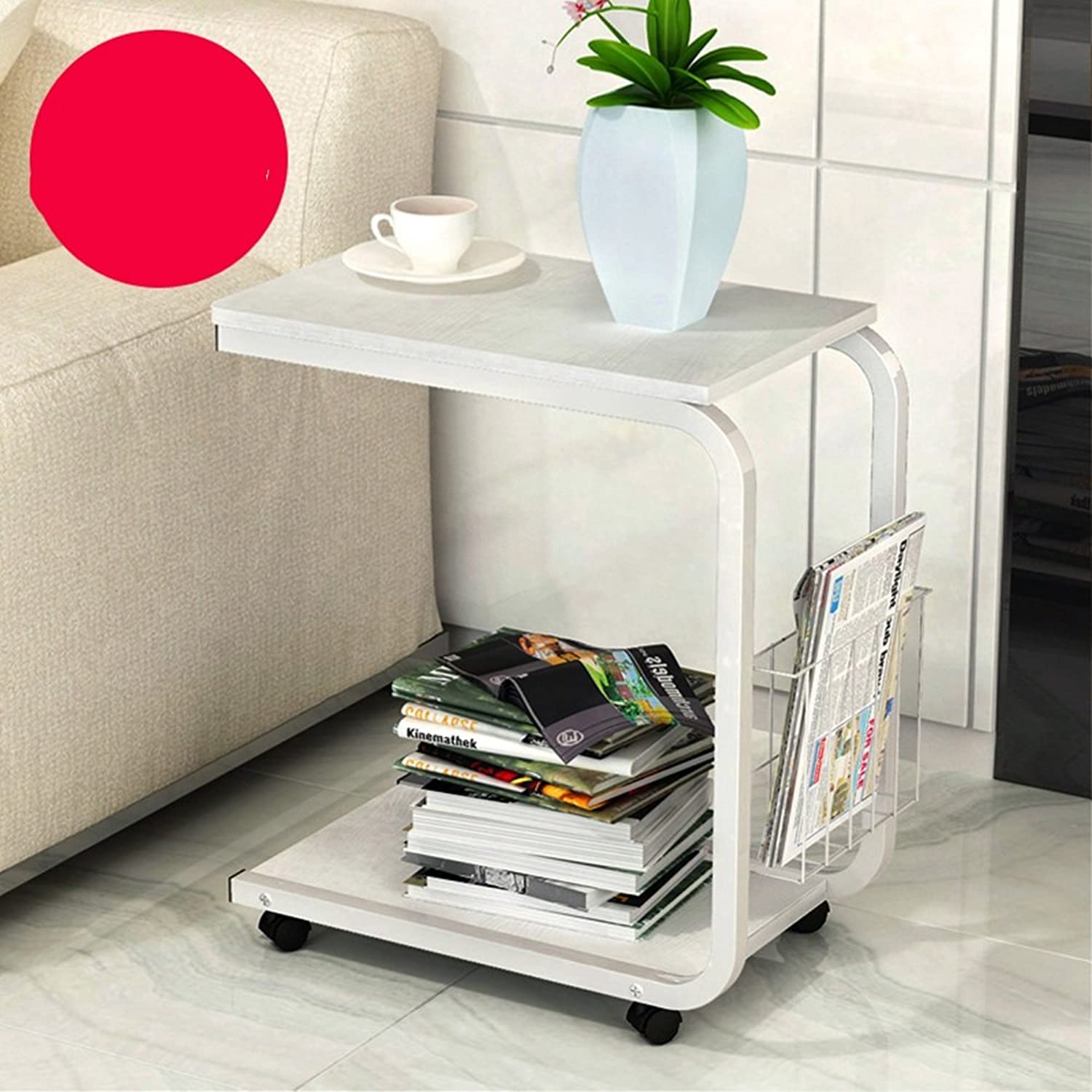 Side Table with Rolling Castors Removable Laptop Table Sofa Table Household Table with Storage Space 51x30x56cm == (color   White)