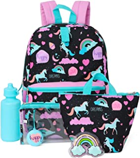 Kids 6 in 1 Backpack Set With Backpack, Lunch Box, Pencil Case & More (Rainbows/Happy)