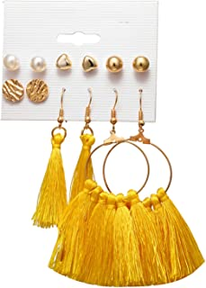 Vintage Geometric Tassel Dangle Earrings for Women Gold Color Leaf Heart Flower Statement Drop Earring Brincos Jewelry New