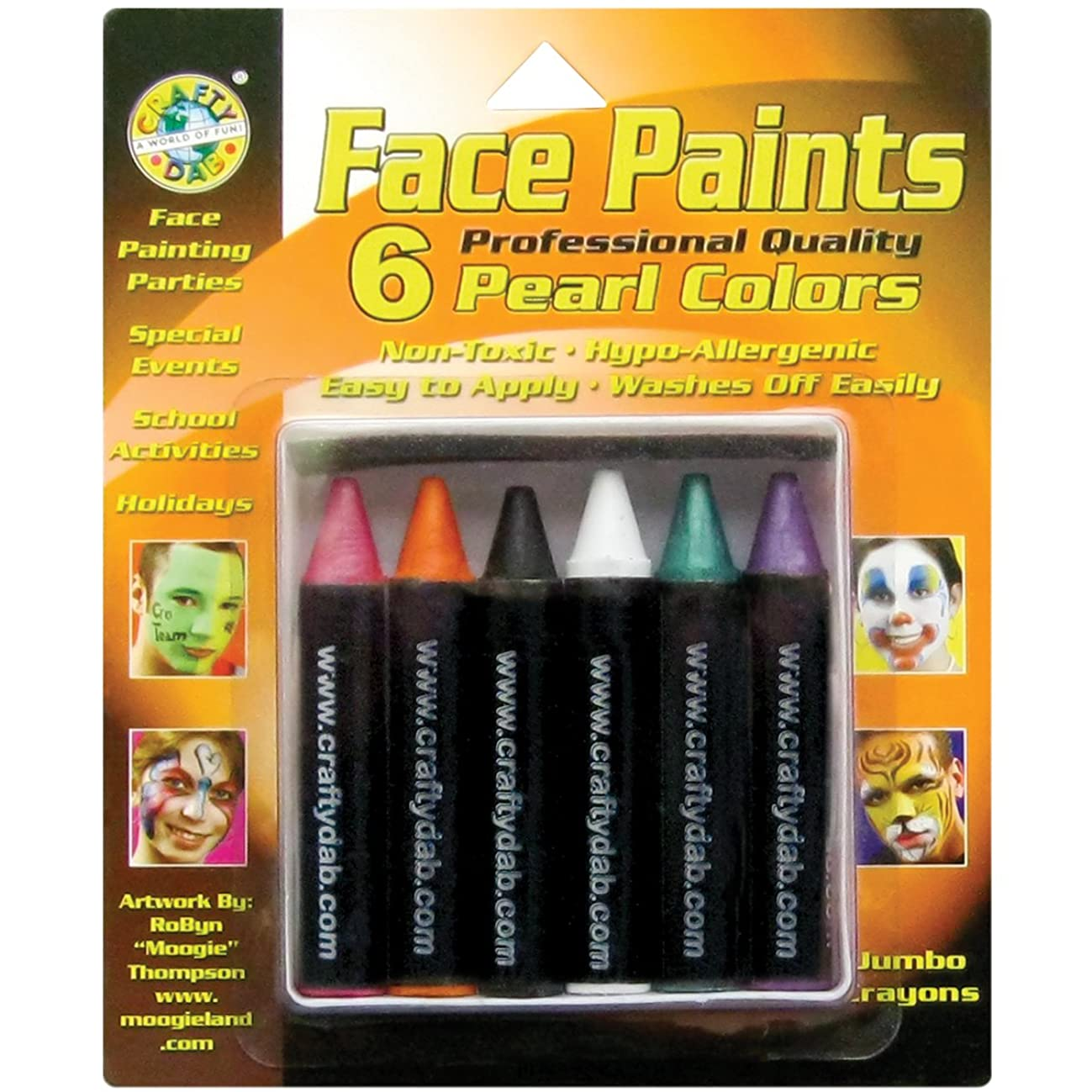 Crafty Dab Face Paint Jumbo Crayons - Pearl Colors