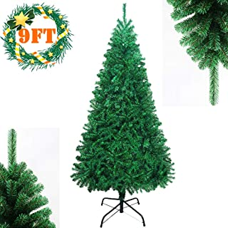 YUIEE 9ft Christmas Tree Artificial Full Christmas Pine Tree Unlit Hinged Fir Holiday Tree with Sturdy Metal Legs - 2000 Tips, 9 Feet