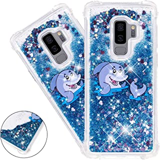HMTECHUS S9 Plus case for Girls Painted Glitter Liquid Sparkle Floating Luxury Quicksand Shockproof?Protective Diamond Silicone Slim Cover for Samsung Galaxy S9+ / S9 Plus -Bilng Blue Dolphin YB