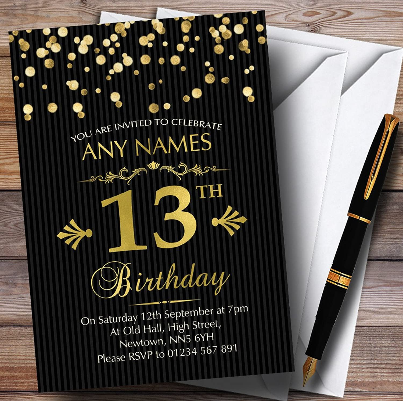 gold Confetti Black Striped 13th Personalised Birthday Party Invitations