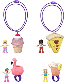 Polly Pocket Tiny Takeaways 4-Pack of 2 Wearable Rings and 2 Wearable Necklaces, Each has a Micro Doll Inside with Fun Theme, for Ages 4 and Up [Amazon Exclusive]