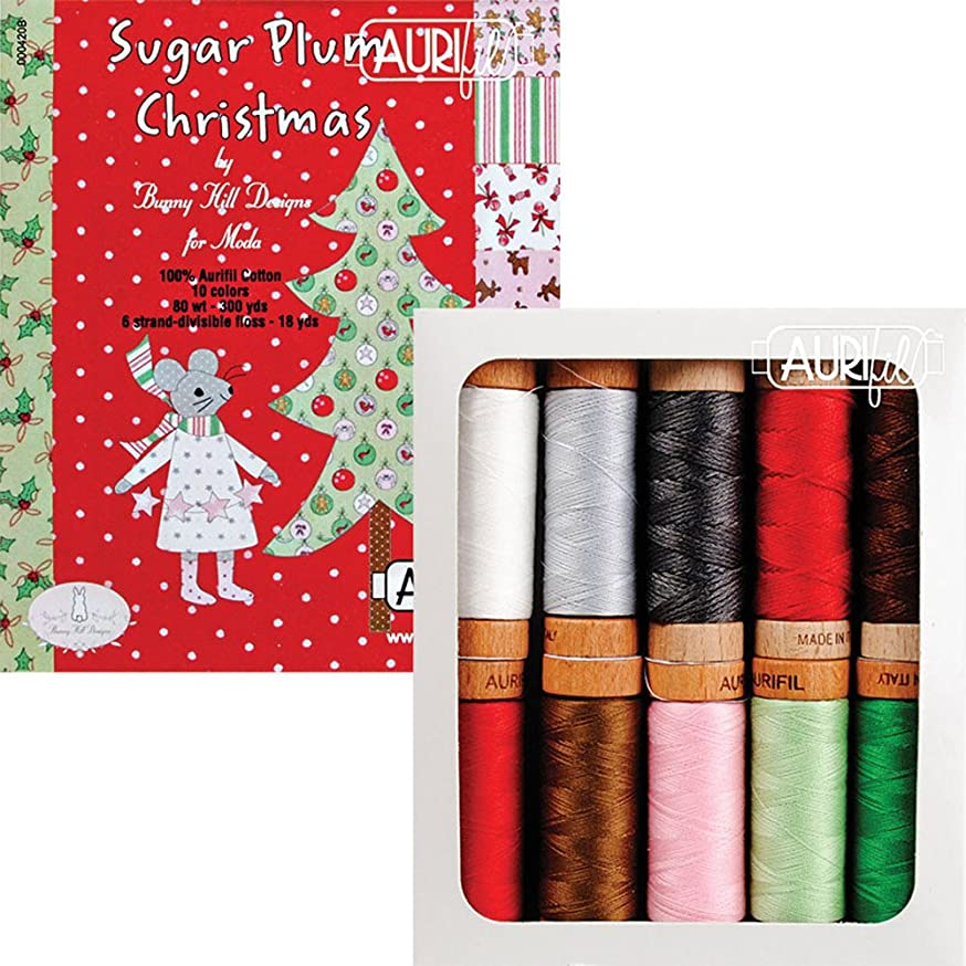 Bunny Hill Designs Sugar Plum Christmas Aurifil Thread Kit 10 Small Spools AS8030SPC10