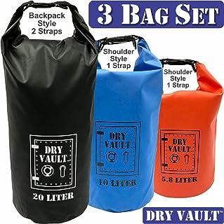 3 Bag Set - DRY VAULT – DRY BAG SETS – 500D PVC Tarpaulin – 20L, 10L, 5.8L with shoulder straps - WEATHERPROOF - WATERPROO...