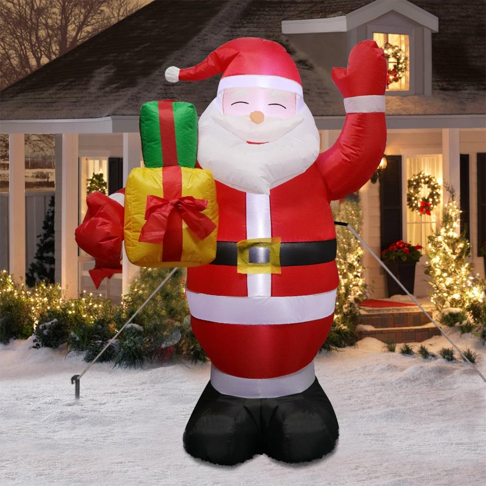 Amazon Com Ourwarm 5ft Christmas Inflatables Lighted Santa Claus Blow Up Yard Decorations For Indoor And Outdoor Garden Lawn Christmas Decorations Garden Outdoor