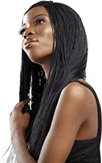 JBG SERVICES Authentic African Braided Wigs - Micro Twist Wig for African American Women - Lace Closure for Natural-Look Hairline - 2 Hair Pins Included - 18 Inch, Color 1 Black