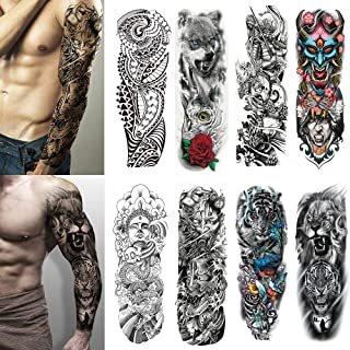 Yesallwas 8 Sheets Full Arm Leg Extra Large Temporary Tattoos, Body Art For Men And Women - Wolf,Tiger,Bear,Warrior,Tribal Symbol (A)