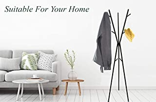 House of Quirk Free-Standing Coat Rack Metal Stand Hall Tree Entry-Way Furniture Best for Hanging Up Jacket, Purse, Hand-Bag, Cloth, Hat, Scarf Holder 9 Hooks Organizer DIY (DO-IT-Yourself) - Black