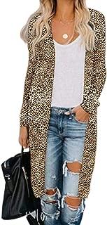 AKEWEI Women's Long Sleeve Cardigans Open Front Drape Lightweight Casual Printed Outerwear