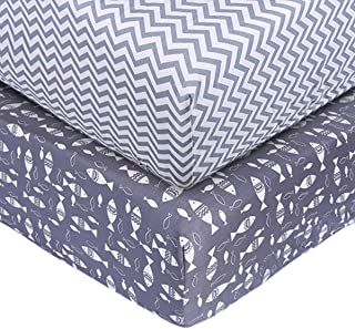 UOMNY Crib Sheet Set 100% Cotton Crib Fitted Sheets Baby Sheet Set for Standard Crib and Toddler mattresses Nursery Bedding Sheet Crib Mattress Sheets for Boys and Girls(Fish/Gray Wave Pattern)