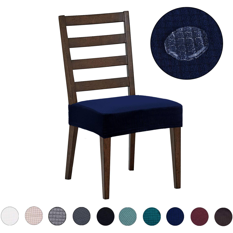 DEZENE Fundas para sillas de Comedor (Paquete de 2): Repelente al Agua, fácil de Instalar, Muy elástica - Silla de Comedor Funda de Asiento/Protector para Mascotas de Perros y Gatos,Azul Marino: Amazon.es: