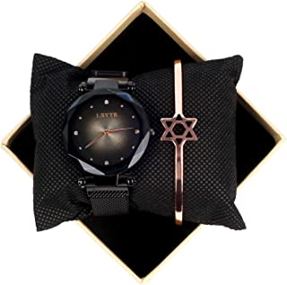 Fashion Magnetic Ladies Watches, Ladies Quartz Starry Sky Wristwatch, Magnetic Mesh Band Watch and Bracelet Set Gifts