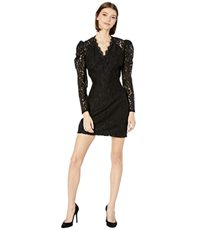 WAYF Spencer Puff Sleeve Mini Dress (Black Lace) Women