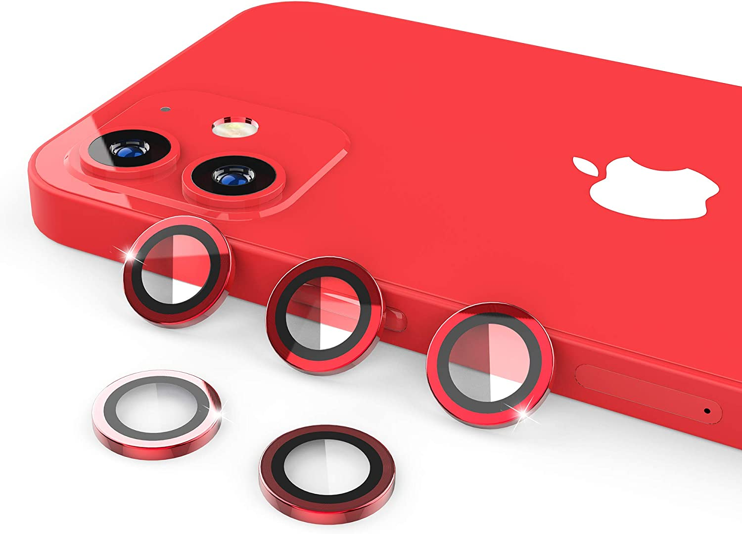 [5 Pack] UniqueMe Compatible with iPhone 12 Mini/iPhone 12 Camera Lens Protector Camera Cover Protection [Easy Installation] HD Clear [Anti-Scratch] [Fit Well for Camera]- Red
