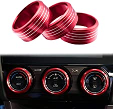 Xotic Tech 3pcs Red Aluminum AC Climate Control Knob Ring Cover Trim for Subaru Imprea WRX STI 2014+