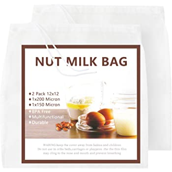 "Nut Milk Bag 2 Pcs, GOGOUP 12""X12"" Reusable Ultrathin Soft Easy to Washable Food Strainer Fine Mesh Nylon Cheesecloth Filter for Almond Milk,Juice,Cold Brew Coffee,Tea,Yogurt,Cheese,Bone Broth"