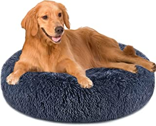 Purefun Dog Bed 90 cm Dark Grey Donut Dog Bed for Large Dogs Comfortable Round Dog Beds Ultra Soft Calming Dog Bed Anti-Slip Faux Fur Pet Bed, Bed for Dog and Cat Joint-Relief and Improved Sleep