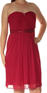ADRIANNA PAPELL Womens Red Beaded Strapless Above The Knee Fit + Flare Formal Dress US Size: 0