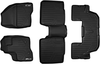 MAXLINER Floor Mats 3 Row Liner Set Black for 2011-2014 Ford Explorer without 2nd Row Center Console