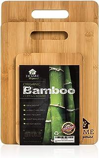 Home Organics Conjunto de Tablas de Cortar Hechas de bambú moso para la preparación de Alimentos Carne Verduras Pan ...