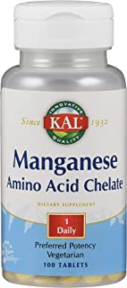 Kal 12 Mg Manganese Chelated Tablets, 100 Count