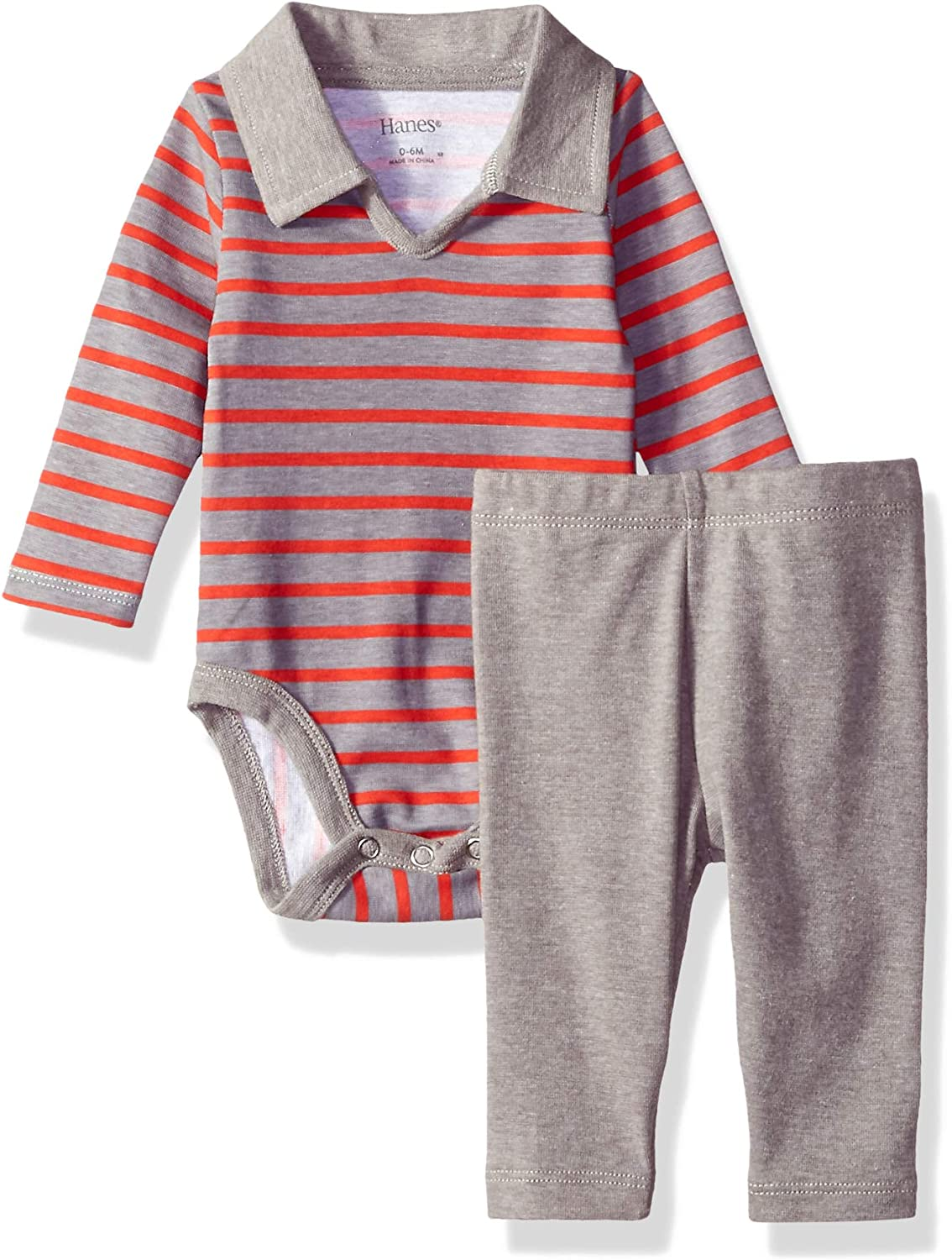 Hanes Ultimate Baby Flexy 2 Piece Set (Pant with Long Sleeve Polo Bodysuit)